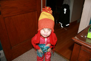 My youngest daughter wearing the Jayne hat (I had to fight her to get it back)